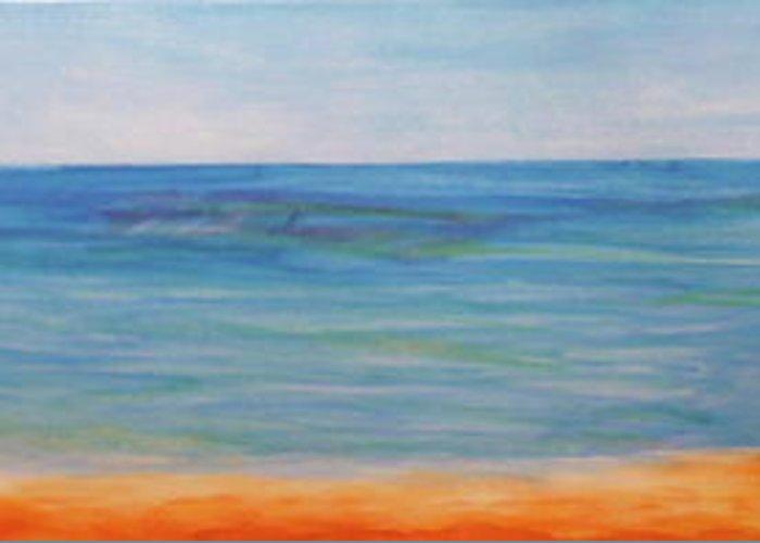 Ocean Greeting Card featuring the painting Beach Walk by Monika Shepherdson