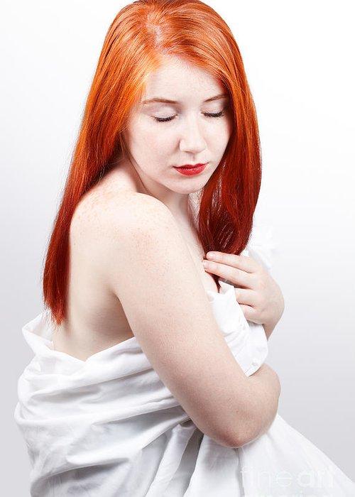 Red Head Greeting Card featuring the photograph Beautiful Redhead Studio Shot by Gabriela Insuratelu