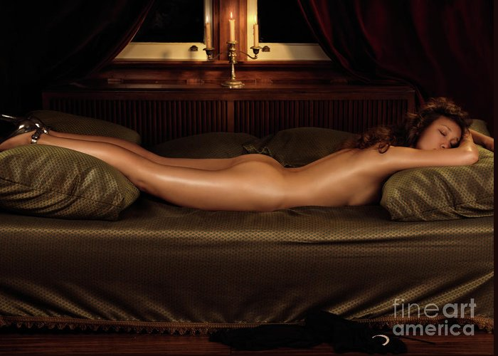 Erotic Greeting Card featuring the photograph Beautiful Woman Sleeping Naked by Oleksiy Maksymenko