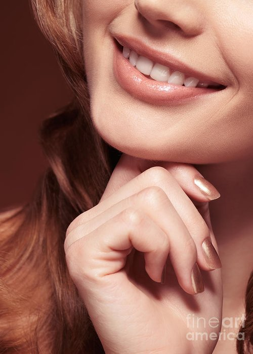 Mouth Greeting Card featuring the photograph Beautiful Young Smiling Woman Mouth by Oleksiy Maksymenko