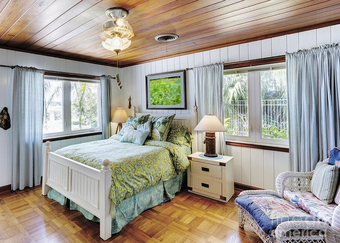 Armchair Greeting Card featuring the photograph Bedroom With A Wood Ceiling by Skip Nall