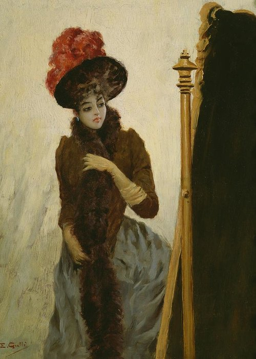 Female; Portrait; Standing; Three-quarter Length; Feathered; Hat; Feather; Feathers; Fashion; Fashionable; Stylish; Looking; Cheval Glass; Belle Epoque; Portraits Greeting Card featuring the painting Before The Swing Mirror by Emile Galle