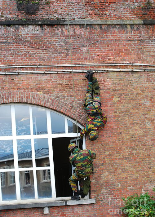 Army Greeting Card featuring the photograph Belgian Paratroopers Rappelling by Luc De Jaeger