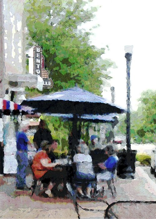 Bentonville Greeting Card featuring the photograph Bentonville On The Square by Ann Powell
