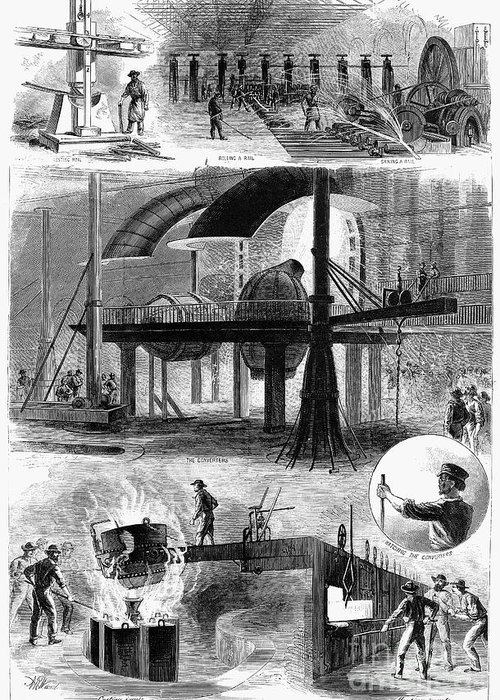 1876 Greeting Card featuring the photograph Bessemer Steel, 1876 by Granger