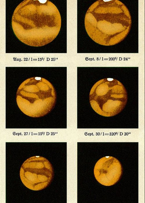 Mars Greeting Card featuring the photograph Beyer's Observations Of Mars by Detlev Van Ravenswaay
