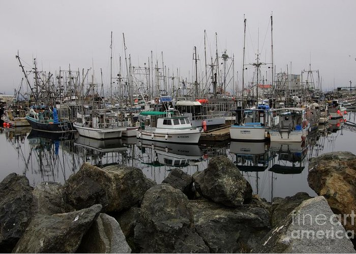 Fishing Boats Greeting Card featuring the photograph Beyond The Stones by Bob Christopher