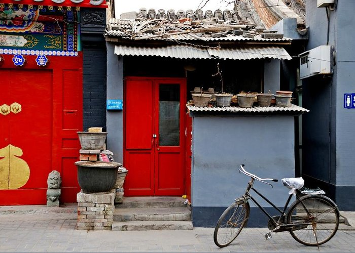 Beijing Greeting Card featuring the photograph Bicycle And Red Door by Dean Harte