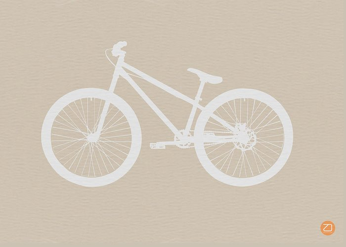 Greeting Card featuring the drawing Bicycle Brown Poster by Naxart Studio