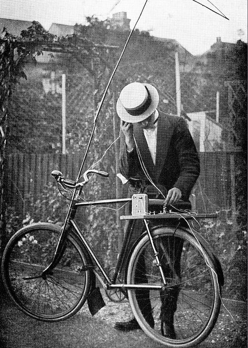 Equipment Greeting Card featuring the photograph Bicycle Radio Antenna, 1914 by