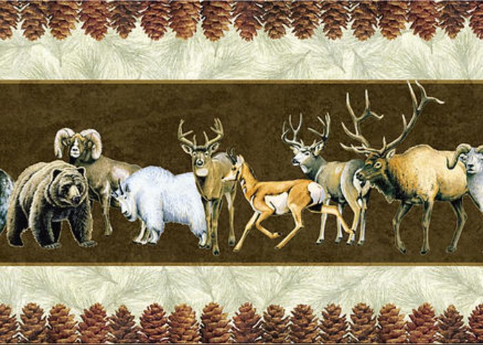 Wildlife Greeting Card featuring the painting Big Game Lodge by JQ Licensing