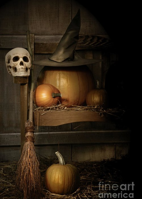 Agriculture Greeting Card featuring the photograph Big Pumpkin With Black Witch Hat And Broom by Sandra Cunningham
