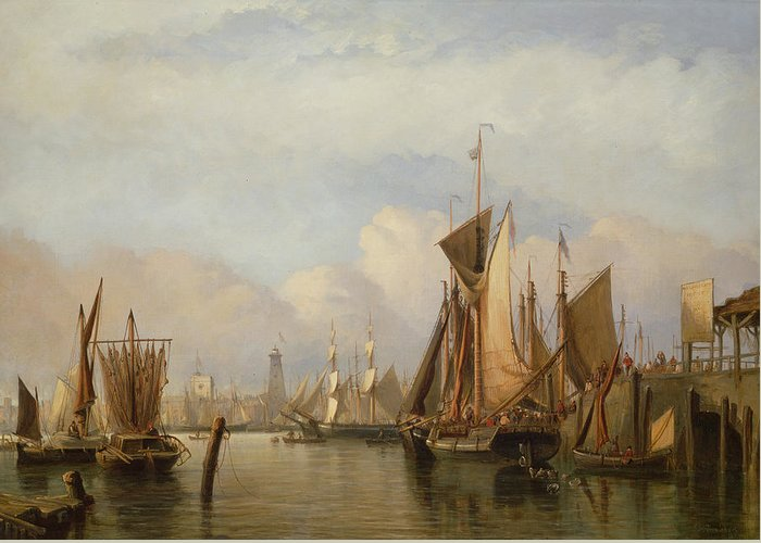 Docked Boats Greeting Card featuring the painting Billingsgate Wharf by John Wilson Carmichael