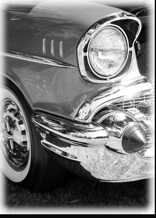 Black And White Greeting Card featuring the photograph Black And White 1957 Chevy by Steve McKinzie