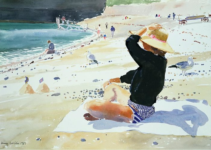 Beach; Sunhat; Seagull; Jetty; Coast; Sandcastle; Flag; Suntan; Tanning; Sea; Towel; Sand; Castle; Holiday; Boat; Launch; Bikini; Seashore; Shadow; Sun; Pebbles; Summer; Sat Greeting Card featuring the painting Black Jumper by Lucy Willis