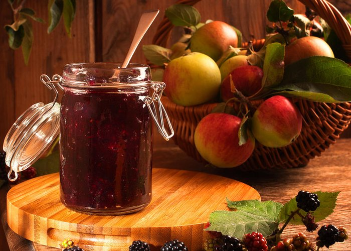 Apple Greeting Card featuring the photograph Blackberry And Apple Jam by Amanda And Christopher Elwell