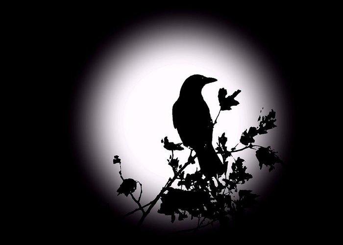 Blackbird Greeting Card featuring the photograph Blackbird In Silhouette by David Dehner