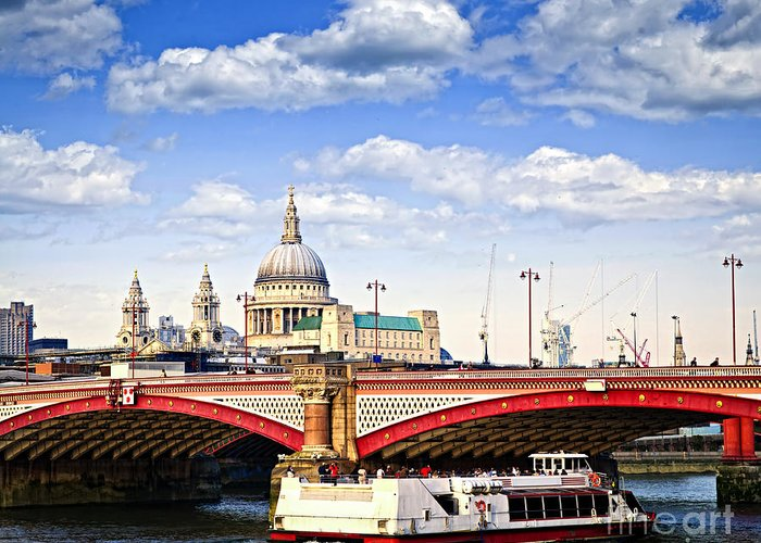 Blackfriars Greeting Card featuring the photograph Blackfriars Bridge And St. Paul's Cathedral In London by Elena Elisseeva