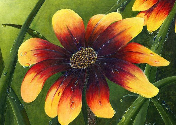 Flower Greeting Card featuring the painting Blanket Flower by Trister Hosang