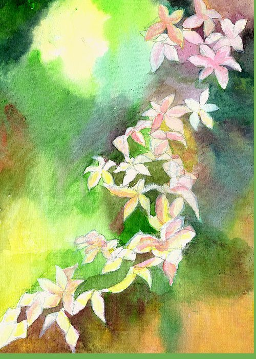 Floral Greeting Card featuring the painting Blessings 1 by Anil Nene