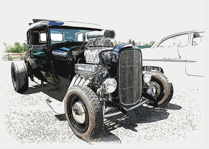 Hot Rod Greeting Card featuring the photograph Blown Coupe by Steve McKinzie