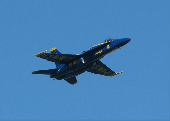 Blue Angels Greeting Card featuring the photograph Blue Angel Solo by Samuel Sheats