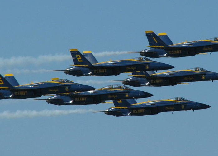 Blue Angels Greeting Card featuring the photograph Blue Angels Take 6 by Samuel Sheats