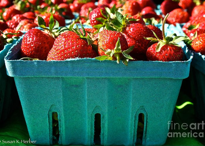 Food Greeting Card featuring the photograph Blue Box by Susan Herber