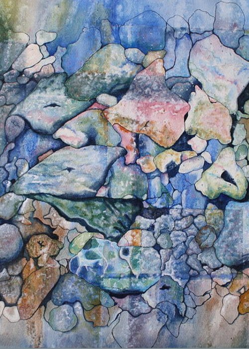 Stylized Under Water Still Life/landscape Greeting Card featuring the painting Blue Creek Stones by Patsy Sharpe