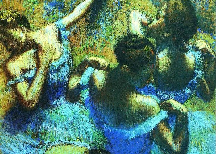 Reproduction Greeting Card featuring the painting Blue Dancers by Pg Reproductions