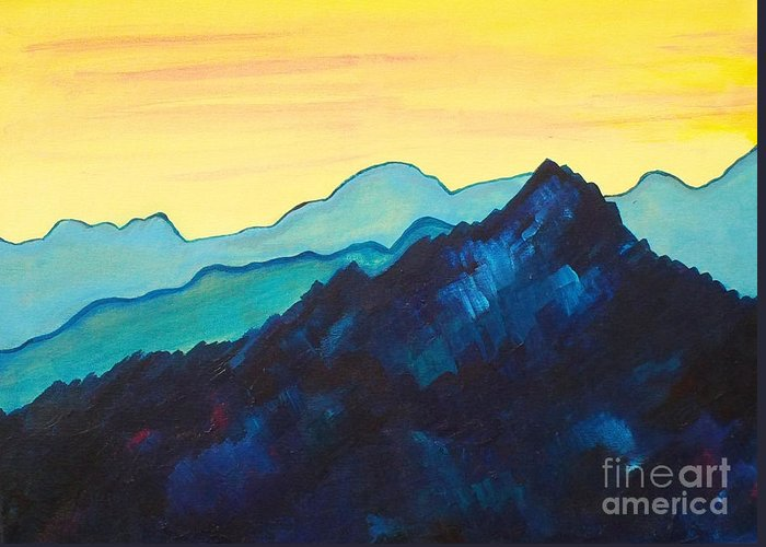 Landscape Greeting Card featuring the painting Blue Mountain II by Silvie Kendall