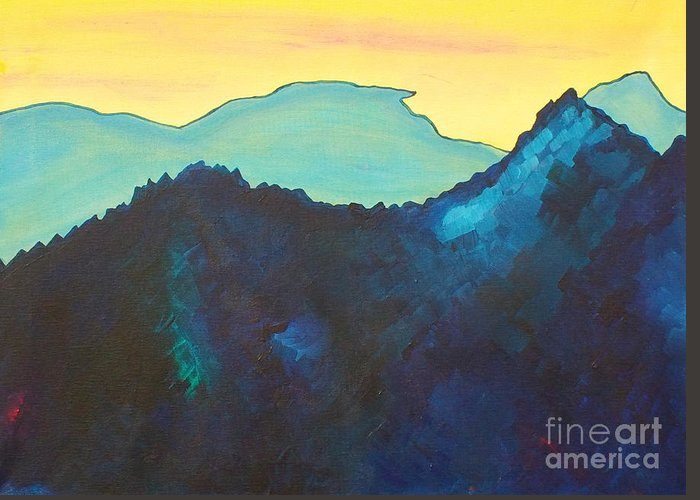 Landscape Greeting Card featuring the painting Blue Mountain by Silvie Kendall