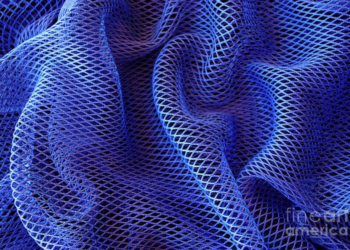 Abstract Greeting Card featuring the photograph Blue Net Background by Carlos Caetano