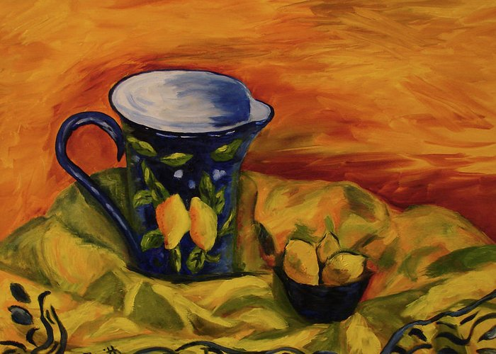 Still Life Greeting Card featuring the painting Blue Pitcher With Lemons by Phyllis Smith