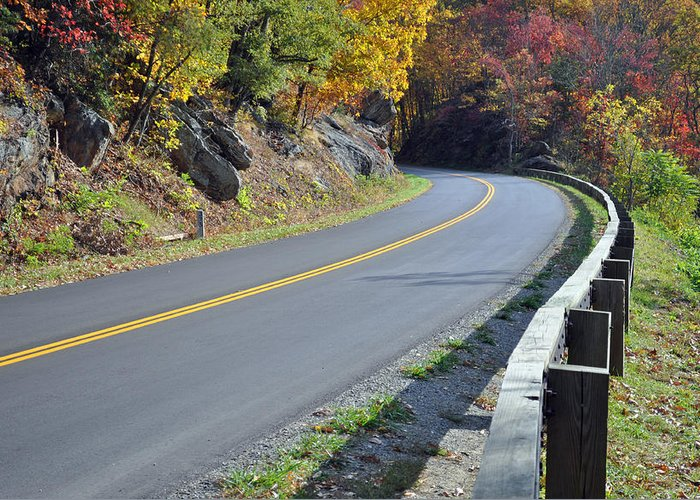 Blue Ridge Parkway Greeting Card featuring the photograph Blue Ridge Parkway Autumn Road by Bruce Gourley
