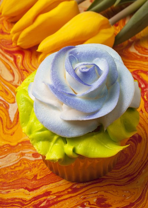 Cupcake Greeting Card featuring the photograph Blue Rose Cup Cake by Garry Gay