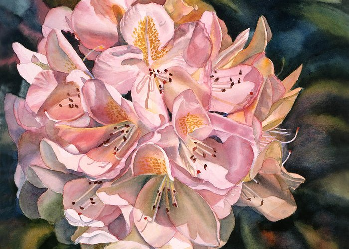 Pink Greeting Card featuring the painting Blushing Pink Rhododendron by Sharon Freeman