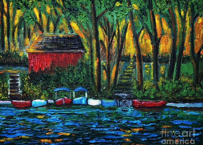Boats Greeting Card featuring the painting Boat Dock In The Evening by Reb Frost