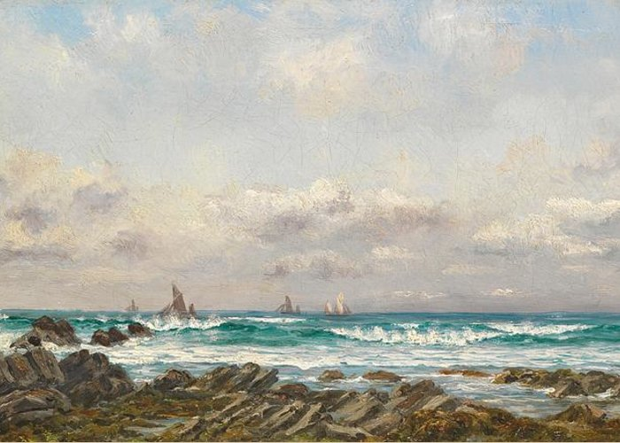 Seascape Greeting Card featuring the painting Boats At Sea by William Lionel Wyllie