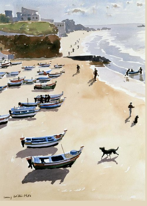 Boat; Dog; Seaside; Albufiera In Portugal; Dinghy; Family; Sea; Boats; Shore; Cliff; Portugal; Dogs; Exercise; Fishing; Coast; Coastal House; Houses; Beach; Sand; Cloud; Clouds Greeting Card featuring the painting Boats On The Beach by Lucy Willis