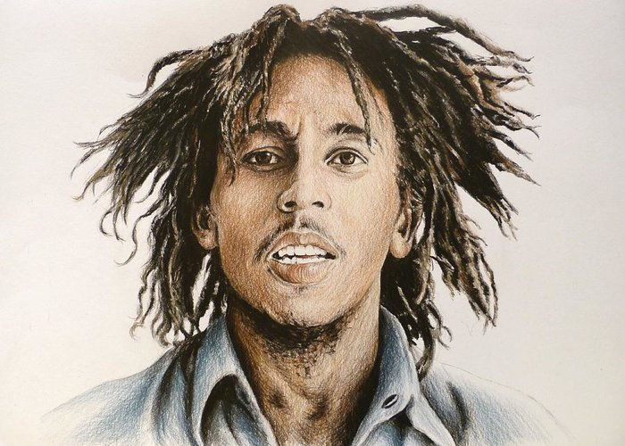 Bob Marley Greeting Card featuring the drawing Bob Marley by Andrew Read