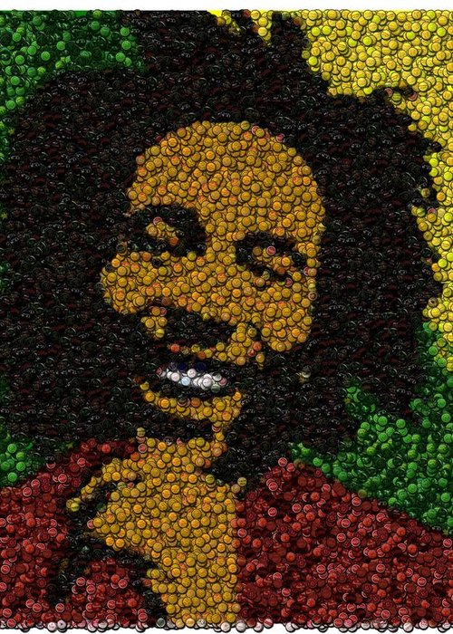 Bob Marley Greeting Card featuring the digital art Bob Marley Bottle Cap Mosaic by Paul Van Scott