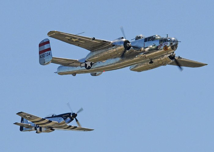 North American Greeting Card featuring the photograph Bomber Escort by Jeff Stallard