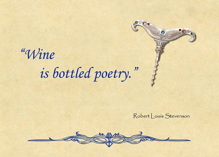 Wine Greeting Card featuring the painting Bottled Poetry by Elaine Plesser