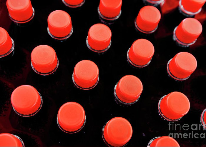 Conformity Greeting Card featuring the photograph Bottles Red Caps by Sami Sarkis