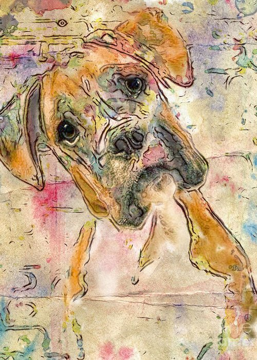 Boxer Greeting Card featuring the digital art Boxer Babe by Marilyn Sholin