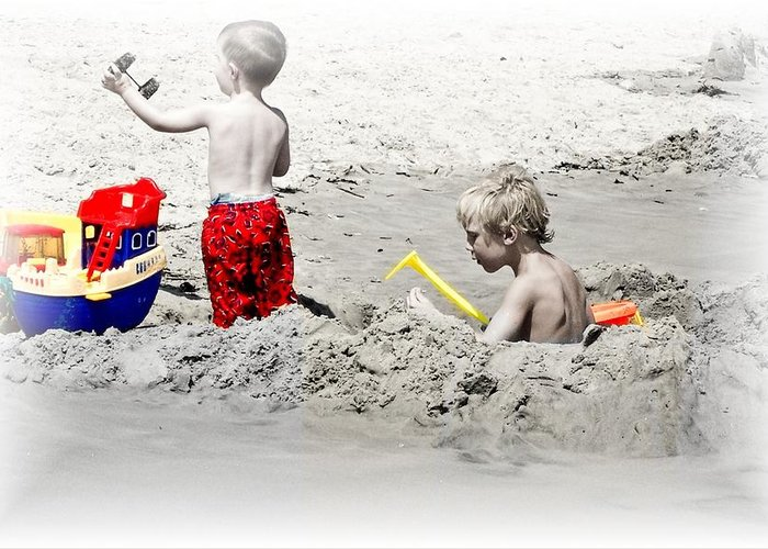 Sand Greeting Card featuring the photograph Boys Will Be Boys At The Beach Nj by Gwenn Dunlap