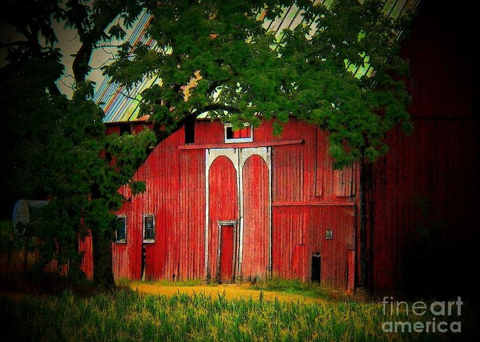 Barn Greeting Card featuring the photograph Branch Over Barn Door by Joyce Kimble Smith