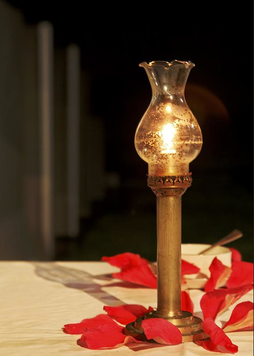 Interesting Greeting Card featuring the photograph Brass Candle Romance by Kantilal Patel