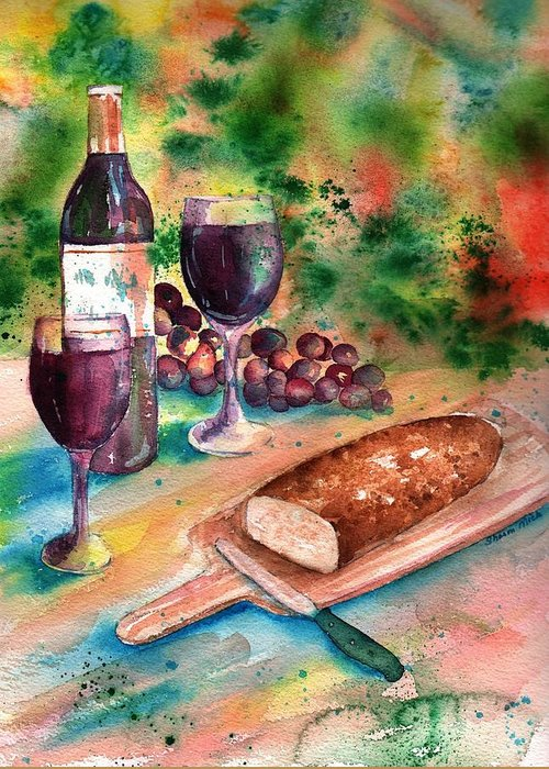 Sharon Mick Greeting Card featuring the painting Bread And Wine by Sharon Mick